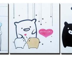 Quadro Porquinhos Desenho Animado Cod 1