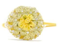 Tiara Artesanal de Couro Floral Amarelo