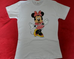 camiseta pintada � m�o MINNIE -( ADULTO)