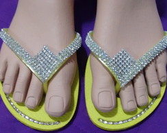 Hav. Flat customizada com strass e manta