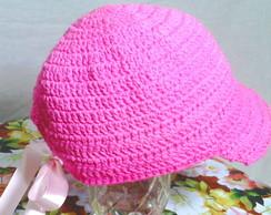 Bon� Praia Ver�o Rosa - Crochet