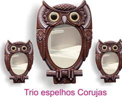 Trio de Espelhos Moldura formato Corujas