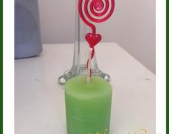 Vela Verde com Porta Recado e Etiqueta