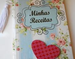 """Caderno de receitas """"Floral vintage"""""""
