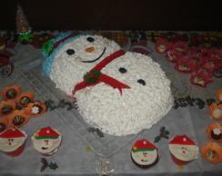 bolo natalino boneco da neve