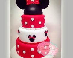 Bolo EVA Minnie Mouse vermelha