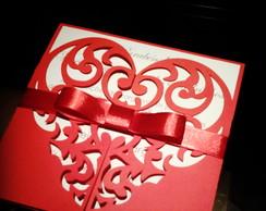 Convite+envelope lapela cora��o rendado