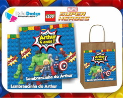 Adesivo sacola Kraft Lego Super Heroes