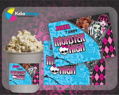 R�tulo Balde de Pipoca Monster High