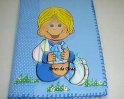 Caderno com capa de EVA Menino.