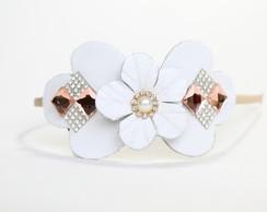 Tiara Artesanal Branco de Flor de Couro