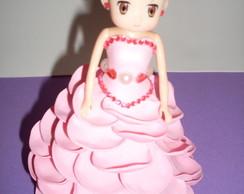 Boneca Mini Com Vestido De Eva - Rosa