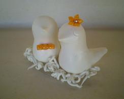 Topo bolo passarinhos biscuit