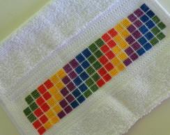 Toalha de m�o/boca - quadrados coloridos