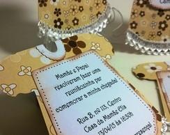 Convite ch� - vestido bege/branco/marrom