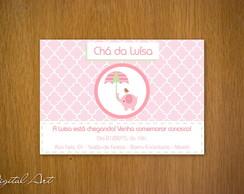 Convite Ch� de Beb� Elefantinho Menina