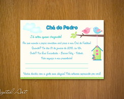 Convite Ch� de Beb� Passarinhos Menino