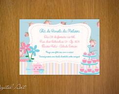 Convite Ch� de Panela Rosa e Azul