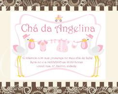 Convite 10x15 Cm Ch� de beb� menina