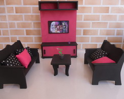 Sala da Monster High com painel