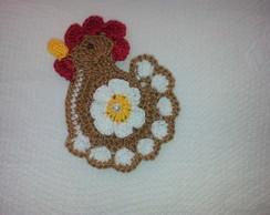 Aplique de croche Galinha com Flor