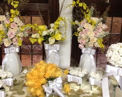 Kit festa proven�al branco & amarelo