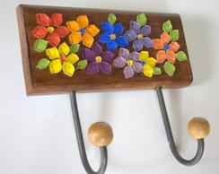 Cabideiro em mosaico Flores Coloridas