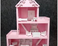 Casa Boneca MDF Pintado Brinquedo M�veis