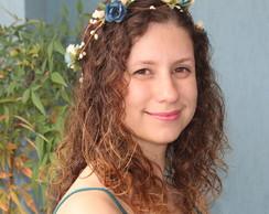Coroa de Flores Azuis Envelhecidas