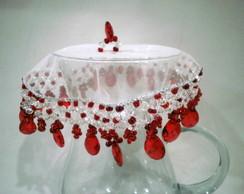 Cobre jarras 25 cms vermelho