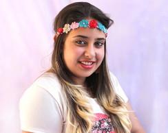 Headband de Flores de Couro Colorido