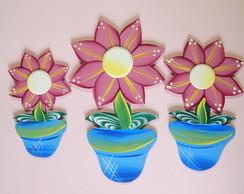 Trio de Vaso com flor P