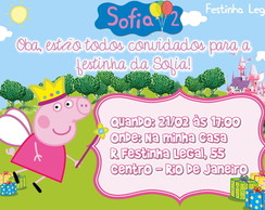 Convite Peppa Pig Princesa arte virtual