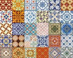 Adesivo Azulejo Portugu�s Ladrilho Zarco