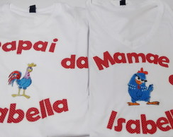 kit Camisetas papai e mam�e Galinha Pint