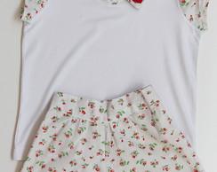 Conjunto Floral Vermelho e Branco - M
