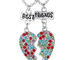 2 Colares Best Friends Cora��o Strass