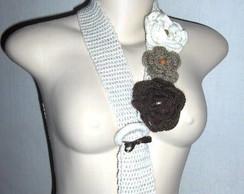 cachecol Gravata de ver�o em crochet