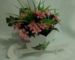 Carriola com Flores Rosa