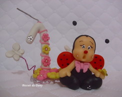 Vela personalizada jardim rosa e amarelo
