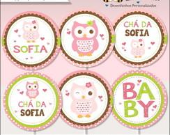 Topper para Cupcake Corujinha Digital