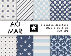 Papel scrapbook digital - AO MAR