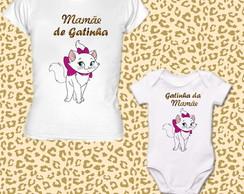 Kit camiseta m�e e filha - Gatinha