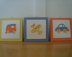Trio de quadros Meios de Transporte