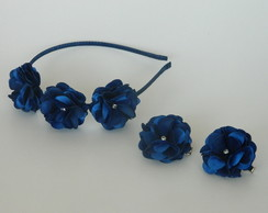 Tiara 3 Flores Azul