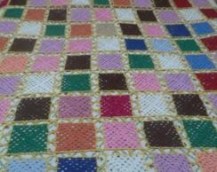 Colcha em croche squares coloridos