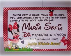 Convite Minie vermelho 10x 7cm