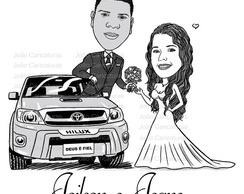 Caricatura Casal em Preto e Branco