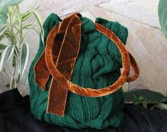 bolsa em trico, l� verde musgo escuro