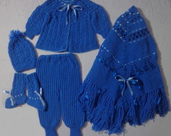 Conjunto tric� feito � m�o p/beb� (azul)